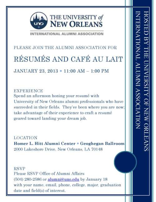 2013-1-23 Resume and Cafe Au Lait Student Invitation
