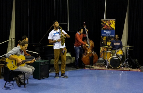 From left to right: Geogi Petrov-guitar, Kris Tokarski-piano, Tyrone Isaac-Stuart-Saxophone, Tanarat Chaichana-bass, Peter Varnado-drums