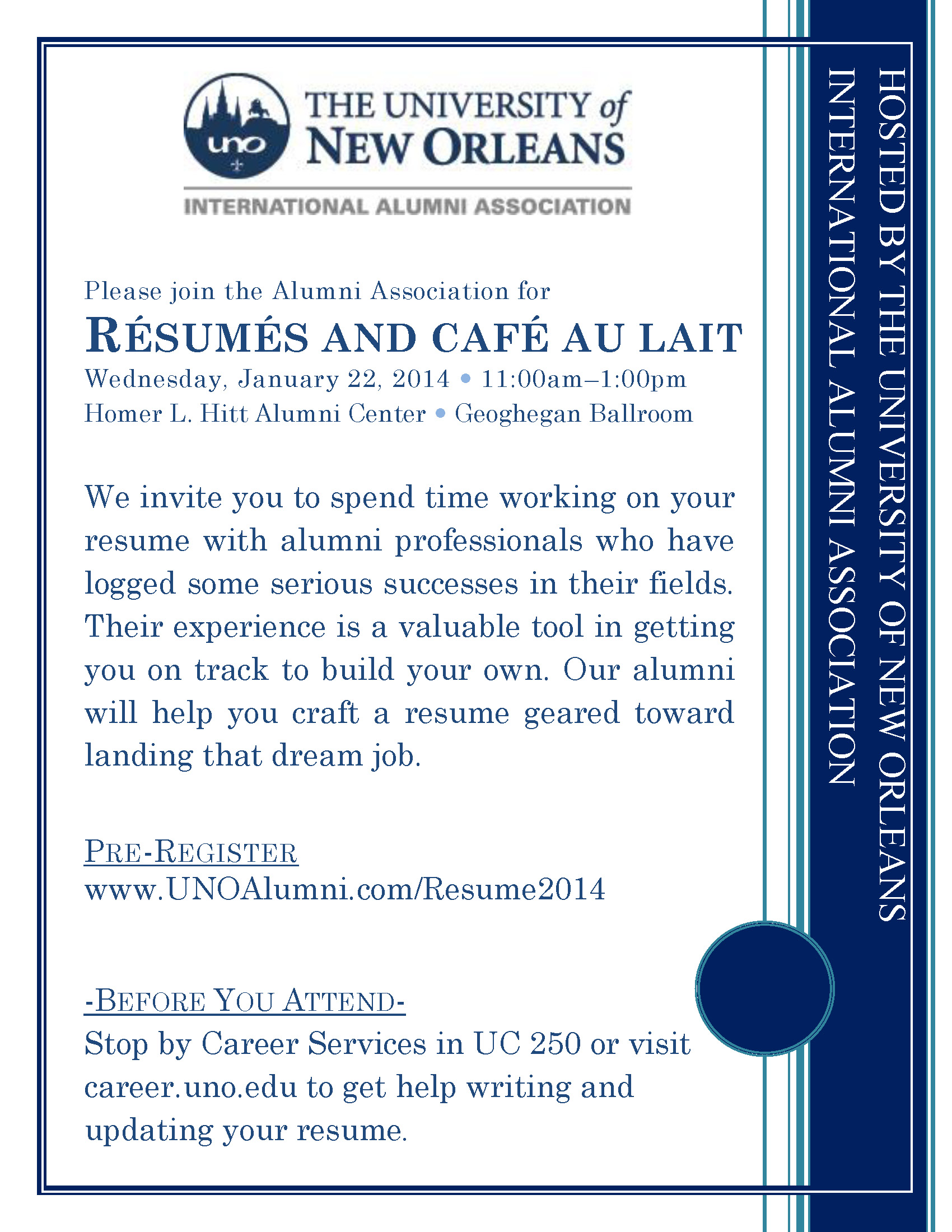 Resumes And Cafe Au Lait College Of Liberal Arts At Uno